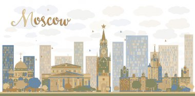 Moscow City Skyline in blue and brown color