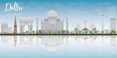 Delhi skyline with grey landmarks, blue sky and reflections