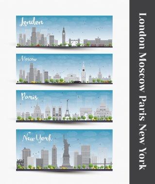 London, Moscow, Paris, New York. Set of four city skyline banner