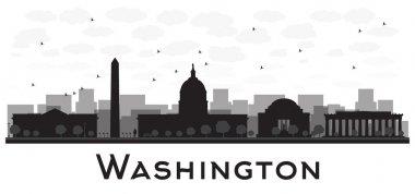 Washington dc city skyline black and white silhouette