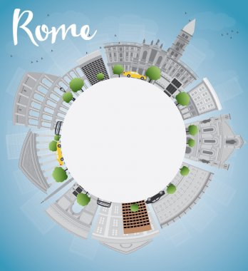 Rome skyline with grey landmarks and copy space