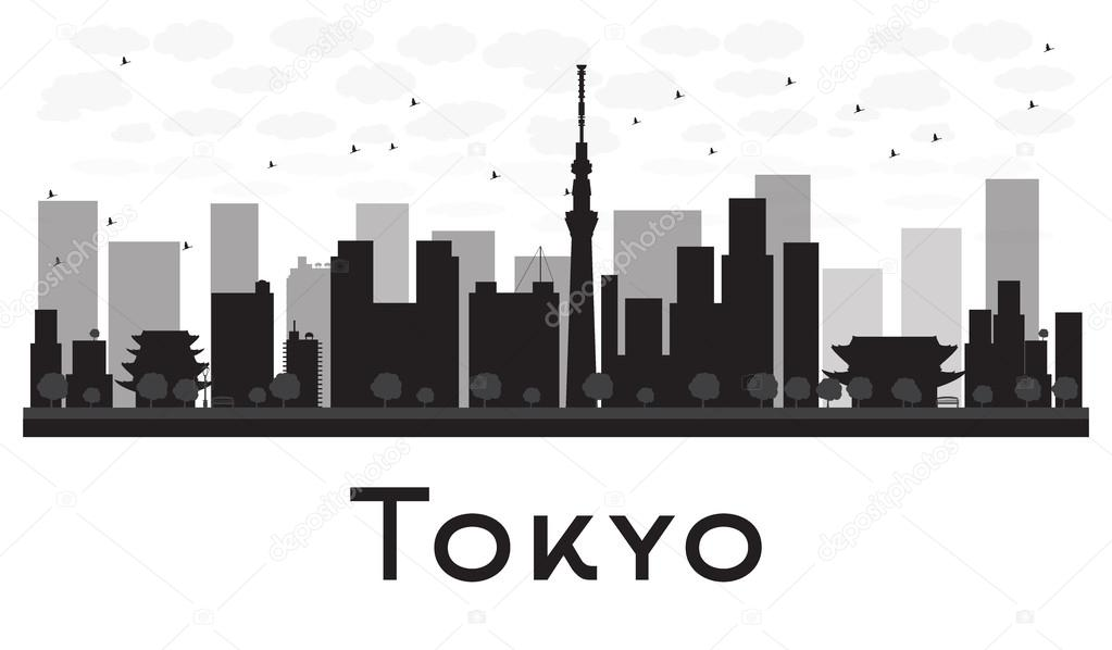 tokyo city skyline schwarz wei silhouette stockvektor booblgum 88289182. Black Bedroom Furniture Sets. Home Design Ideas