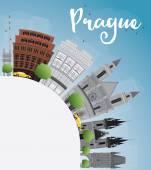 Praha Panorama s šedou památek, modrá obloha a kopírovat prostor.