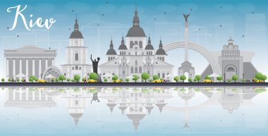 Kiev skyline with grey landmarks, blue sky and reflections