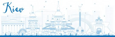 Outline Kiev skyline with blue landmarks.