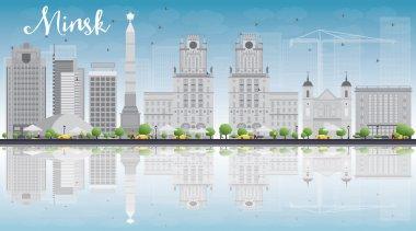 Minsk skyline with grey buildings and blue sky.