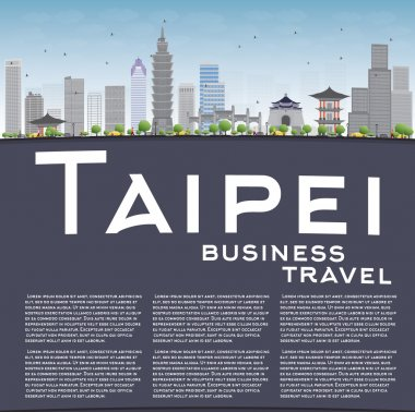 Taipei skyline with grey landmarks, blue sky and copy space.