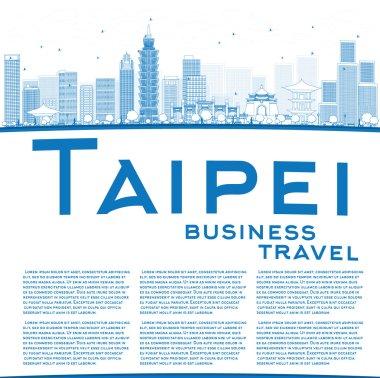 Outline Taipei skyline with blue landmarks and copy space