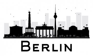 Berlin City skyline black and white silhouette.