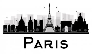 Paris City skyline black and white silhouette