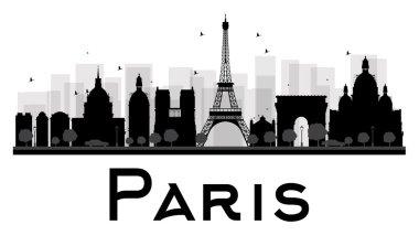 Paris City skyline black and white silhouette