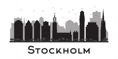 Stockholm skyline black and white silhouette.
