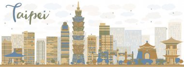 Abstract Taipei skyline with color landmarks