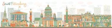 Abstract Saint Petersburg skyline with color landmarks