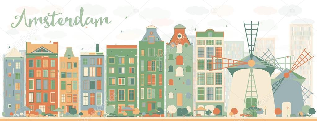 Abstract Amsterdam city skyline with color buildings