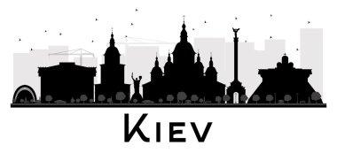 Kiev City skyline black and white silhouette.
