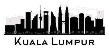 Kuala Lumpur City skyline black and white silhouette.