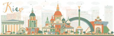 Abstract Kiev skyline with color landmarks.