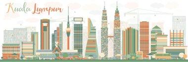 Abstract Kuala Lumpur Skyline with Color Buildings.
