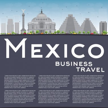 Mexico skyline with grey landmarks and blue sky.