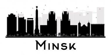 Minsk City skyline black and white silhouette.
