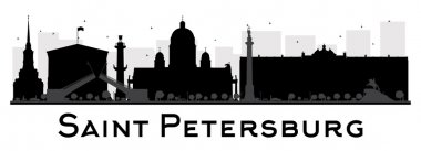 Saint Petersburg City skyline black and white silhouette. Vector illustration. Simple flat concept for tourism presentation, banner, placard or web site. Business travel concept. Cityscape with landmarks clip art vector