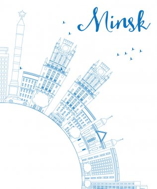Outline Minsk skyline with blue buildings and copy space.