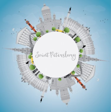 Saint Petersburg skyline with gray landmarks and copy space. Business travel and tourism concept with historic buildings. Image for presentation, banner, placard and web site. Vector illustration clip art vector