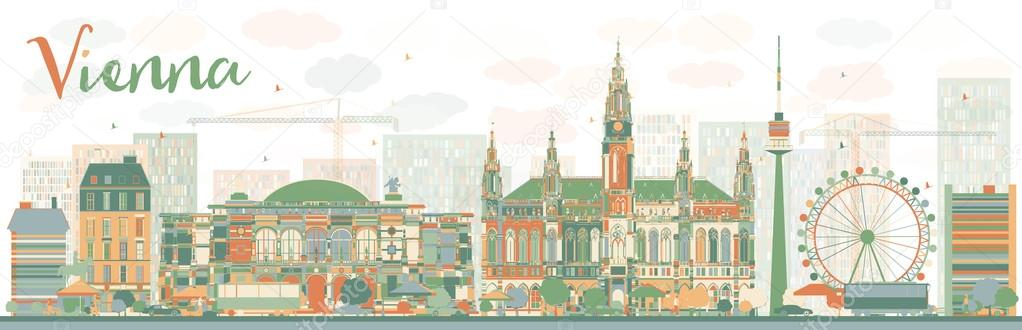 Abstract Vienna skyline with color landmarks.