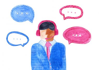 Watercolor call center. Isolated male avatar.