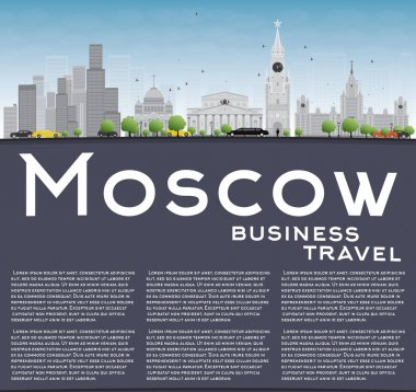 Moscow Skyline with Gray Landmarks, Blue Sky and Copy Space.