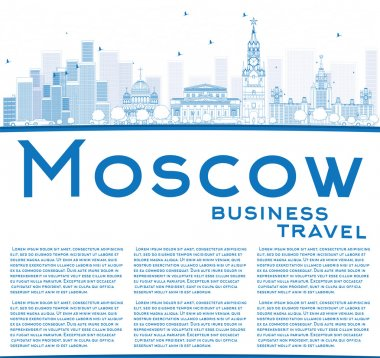 Outline Moscow Skyline with Blue Landmarks and Copy Space.