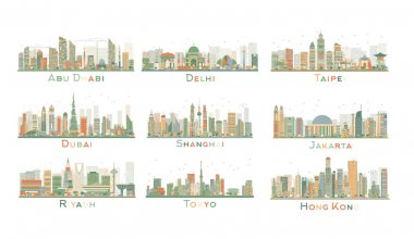 Set of 9 Abstract City Skyline. Vector Illustration.