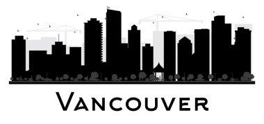 Vancouver City skyline black and white silhouette.