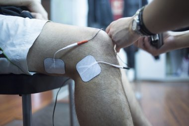 Patient knee physiotherapy rehabiliation treatment