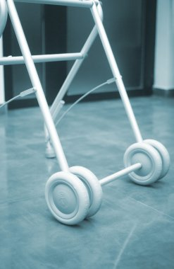 Old person walker frame in retirement home