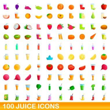 100 juice icons set. Cartoon illustration of 100 juice icons vector set isolated on white background icon