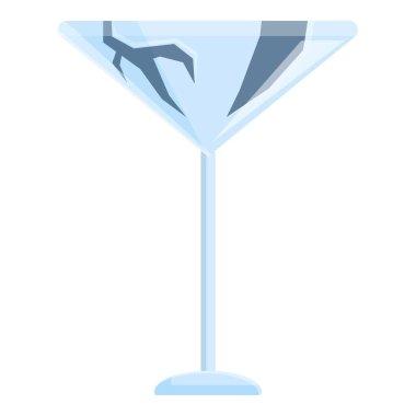 Broken martini glass icon. Cartoon of broken martini glass vector icon for web design isolated on white background icon
