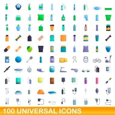 100 universal icons set. Cartoon illustration of 100 universal icons vector set isolated on white background icon