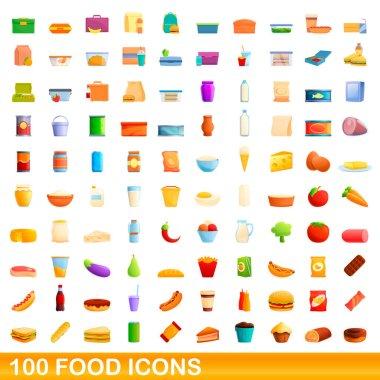 100 food icons set. Cartoon illustration of 100 food icons vector set isolated on white background icon
