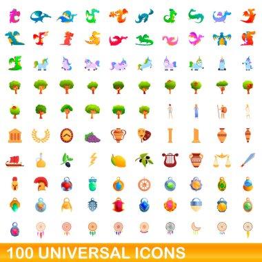 100 universal icons set, cartoon style
