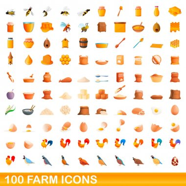 100 farm icons set. Cartoon illustration of 100 farm icons vector set isolated on white background icon