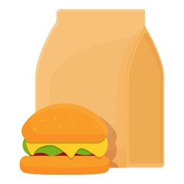 School breakfast burger icon. Cartoon of School breakfast burger vector icon for web design isolated on white background icon
