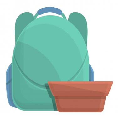 School breakfast backpack icon. Cartoon of School breakfast backpack vector icon for web design isolated on white background icon