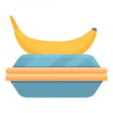 School breakfast banana box icon. Cartoon of School breakfast banana box vector icon for web design isolated on white background icon