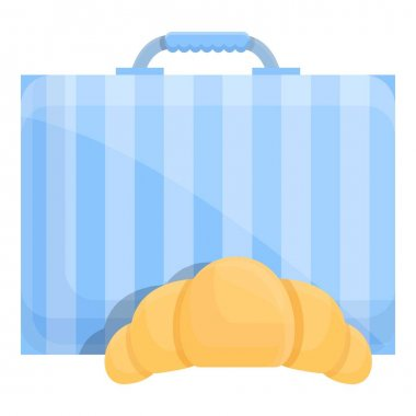 School breakfast croissant icon. Cartoon of School breakfast croissant vector icon for web design isolated on white background icon