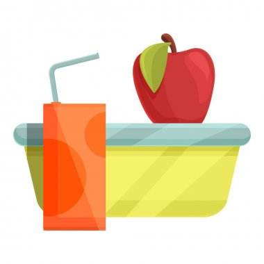 School breakfast red apple icon. Cartoon of School breakfast red apple vector icon for web design isolated on white background icon