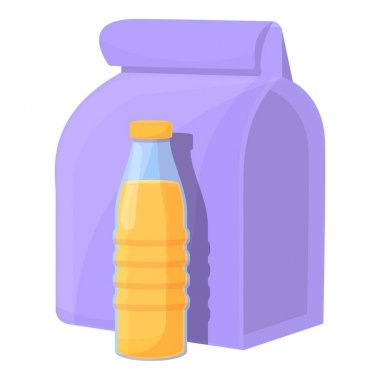 School breakfast juice bottle icon. Cartoon of School breakfast juice bottle vector icon for web design isolated on white background icon