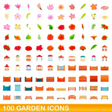 100 garden icons set, cartoon style
