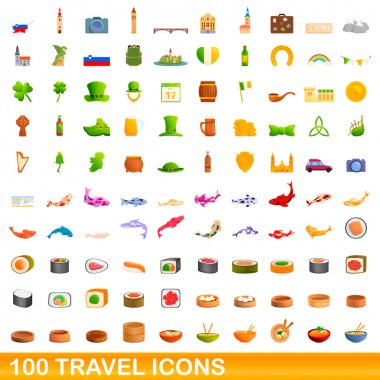 100 travel icons set, cartoon style